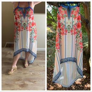 Flying Tomato High Low Halter Open Back Maxi